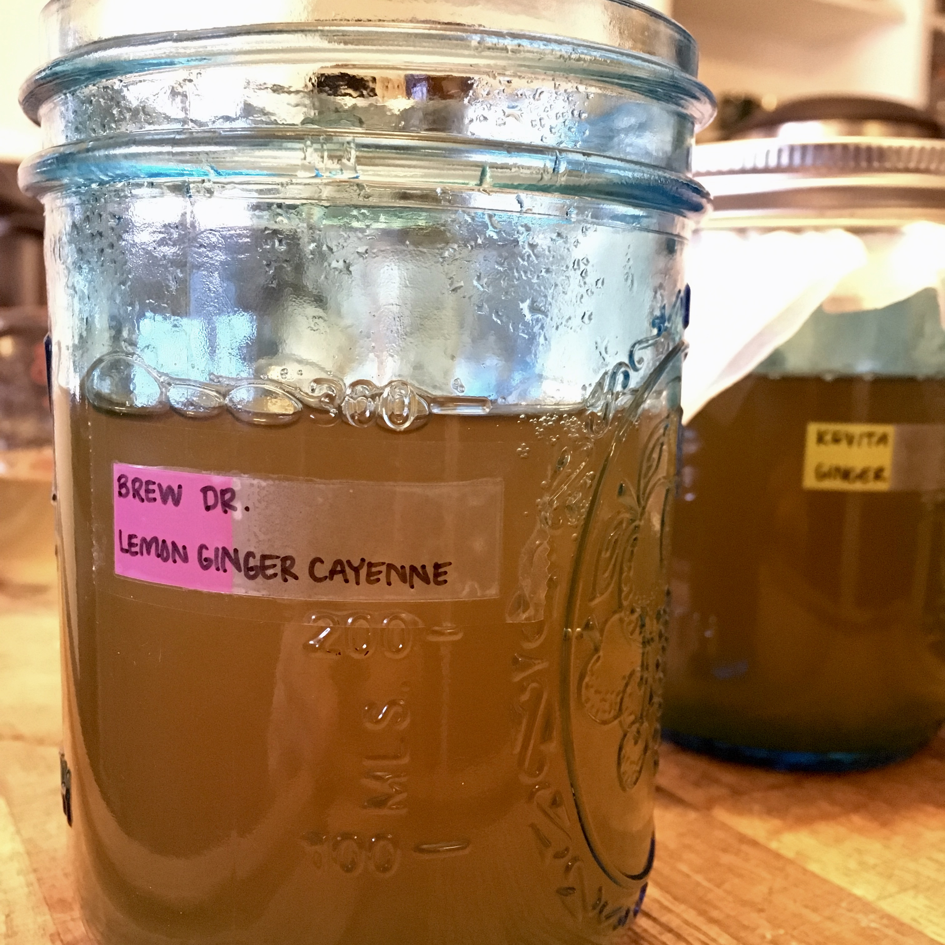 Blue jars filled to 300 milliliters