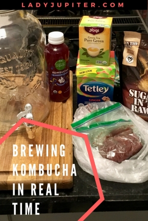 Lady Jupiter makes her first fermented tea #milblogger #kombucha