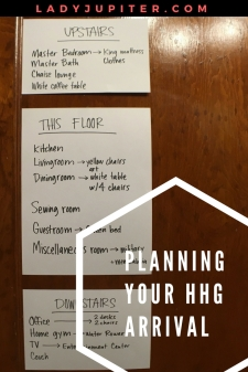 Let's talk about planning your HHG arrival so you can plan now and not stress. #planning #PCS #airforcewife