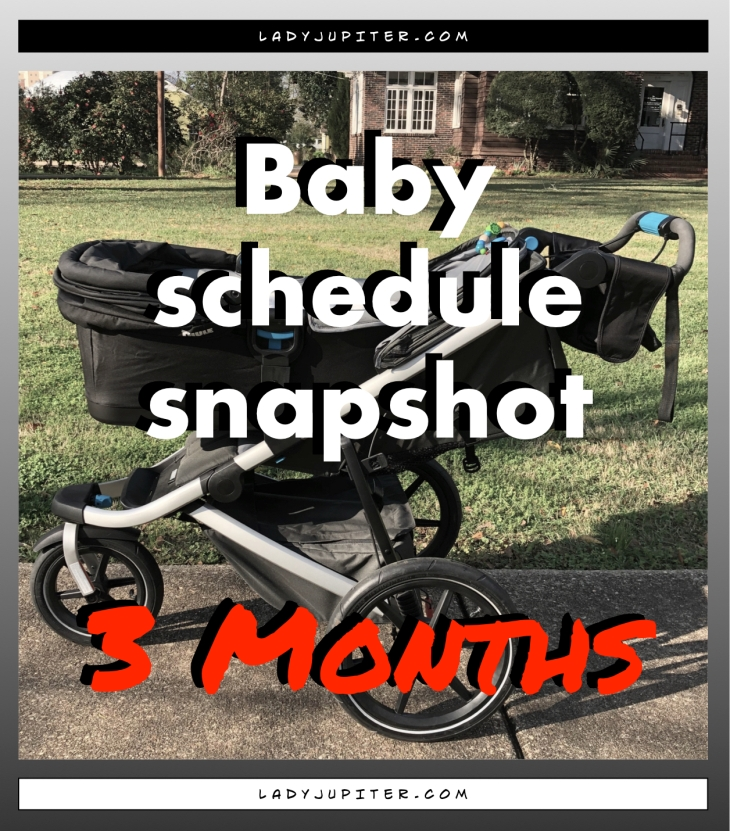 Baby schedule snapshot! Here's an overview of my three-month old's life. #Baby #ThreeMonthsOld #BabySchedule #3months