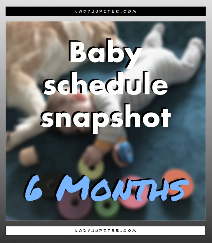 Baby schedule snapshot! Here's an overview of my six-month old's life. #Baby #SixMonthsOld #BabySchedule #6months