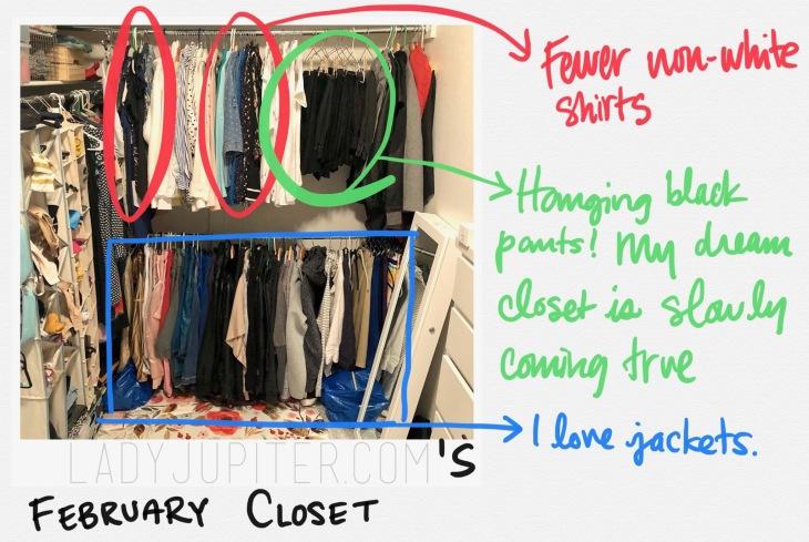 My February closet. Little steps are still steps. #startsomewhere #clothes #closet #progressphotos