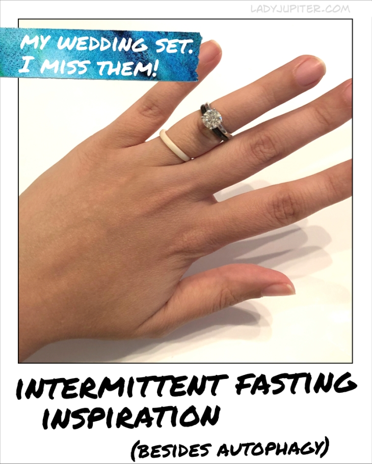 Intermittent fasting inspiration - I miss wearing my wedding set, so I look forward to my fingers dropping a size. #weddingrings #fasting #inspiration #goals