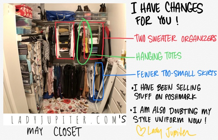 Closet progress has been made! Sweater hangers work for me, and not just for sweaters. #progressphotos #mycloset