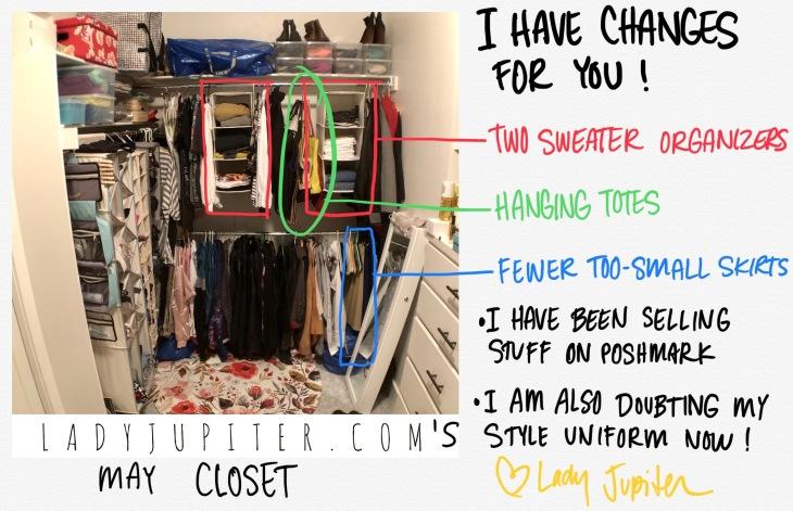 Closet progress has been made! Sweater hangers work for me, and not just for sweaters. #progressphotos #mycloset