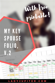 Key Spouse Folio Version Two! After some using and changing I have updated my Key Spouse folio to spreadsheets - it makes sense and here's how!