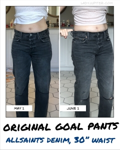 Goal pants (ALLSAINTS) one month apart - no real change between fasting months five and six.