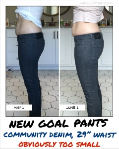 Goal pants (Community) one month apart - no real change between fasting months five and six.