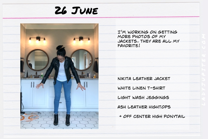 Outfits of the Day June 26. #OOTD #summer #over35 #LeatherJackets