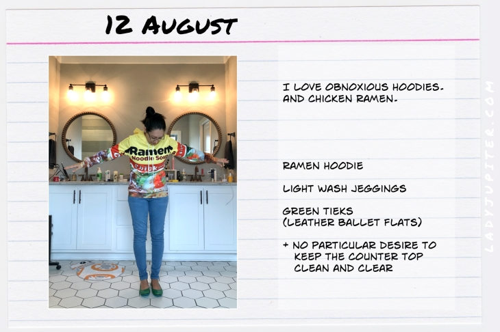 Outfits of the Day August 12. #OOTD #summer #COVIDsummer #Ramen