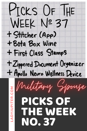 Picks № 37 are milso picks; those little things that my life happier and easier when my spouse is TDY, deployed, or just working late all week. Being able to purchase a little sanity is well worth it in my book, so come on in and see this week's picks! #picksoftheweek #milso #milspouse #pilotwife #TDYs #DeploymentHelp #self-care