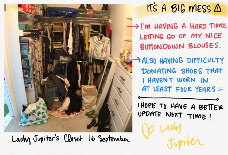 September closet update! It's a big mess right now because I am trying to organize before fully purging things. So many things simply aren't worn anymore because I don't need professional clothes, and won't realistically need any for a long time (not regularly anyway). #progressphotos #mycloset #updates #organization #inprogress