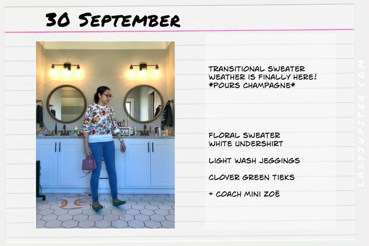 Outfits of the Day September 30. #OOTD #summer #September #transitionalsweater #MiniZoe