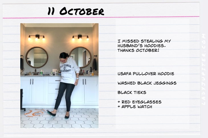 Outfits of the Day October 11. #OOTD #October #MomOutfits #LadyJupiter #USAFA #Tieks