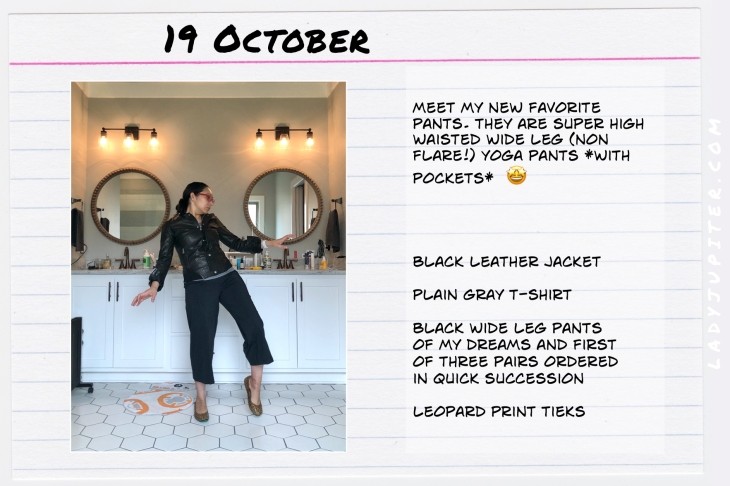 Outfits of the Day October 19. #OOTD #October #MomOutfits #LadyJupiter #leatherjacket #widelegyogapants #blackoutfit
