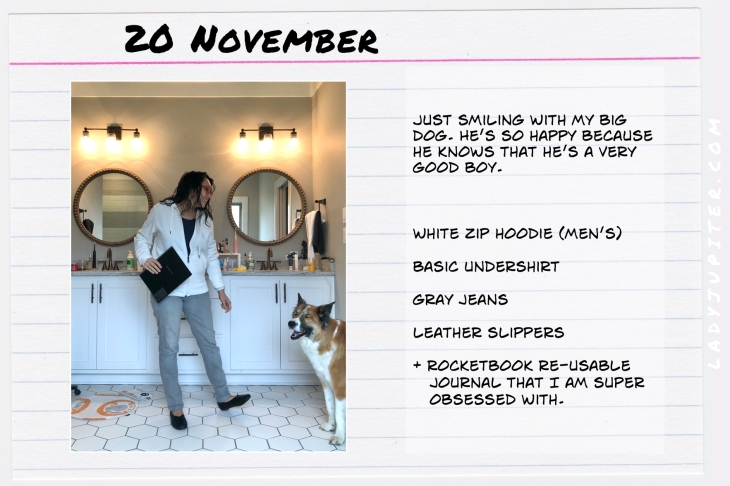 Outfits of the Day November 20. #OOTD #November #MomOutfits #LadyJupiter #RocketBook