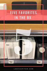 This post is about my five favorite things when shopping in my nearest Aafes BX. It's good to know what I can expect to find on most military installations, and you other travelers know the value of finding familiarity in new places. #FiveFaves #shopping #Aafes #BX #PX #NEX