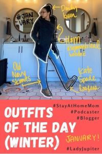 Outfits of the day post! Click on to see what I wore in the winter; primarily light indoor layers because I don't go outside much. #OOTD #LadyJupiter #MomOutfits #comfortable #layers #OutfitShare #milblogger