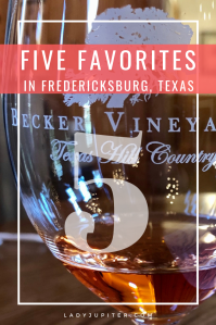 I'm gushing about my favorites in Fredericksburg, Texas today! Fredericksburg is a great weekend trip, and I cannot recommend it enough - well, that is if you also seek fine food and drink! Thrillseekers may be dissapointed. Thirsty wine-drinkers will not. #FiveFaves #5Faves #LadyJupiter #Fredericksburg #FredericksburgTexas #roadtrip #FBurg #GermanTown #TexasWine