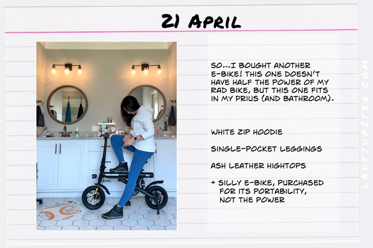 Spring Outfits of the Day. #OOTD #April #MomOutfits #LadyJupiter #eBike