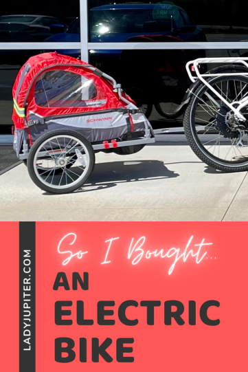 So I bought...an electric bike! This post is all about my beloved ebike and current accessories. The toddler and I get more sunshine and we both love the wind on our faces. #LadyJupiter #electricbike #RadPowerBikes #Schwinn #getoutside #urbanbike #ebike