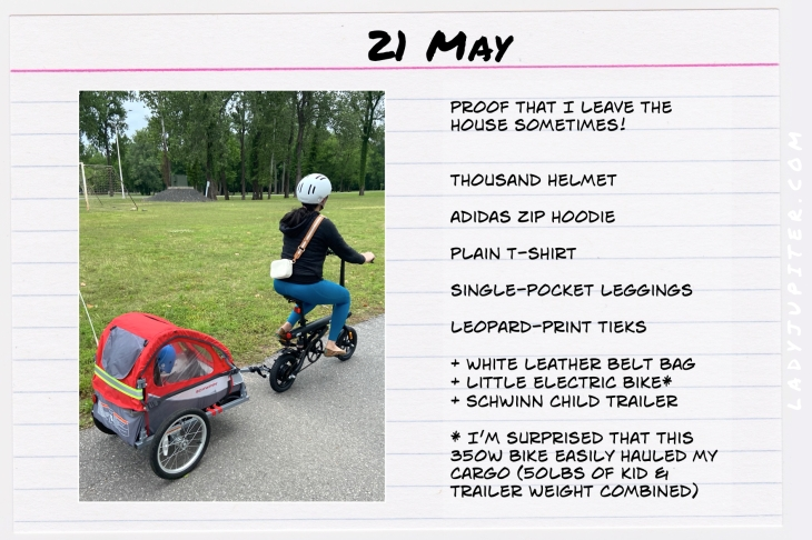 Spring Outfits of the Day. #OOTD #May #MomOutfits #LadyJupiter #ebike