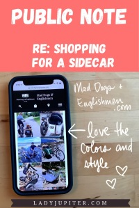 Public Note; re: shopping for a sidecar. Mad Dogs & Englishmen