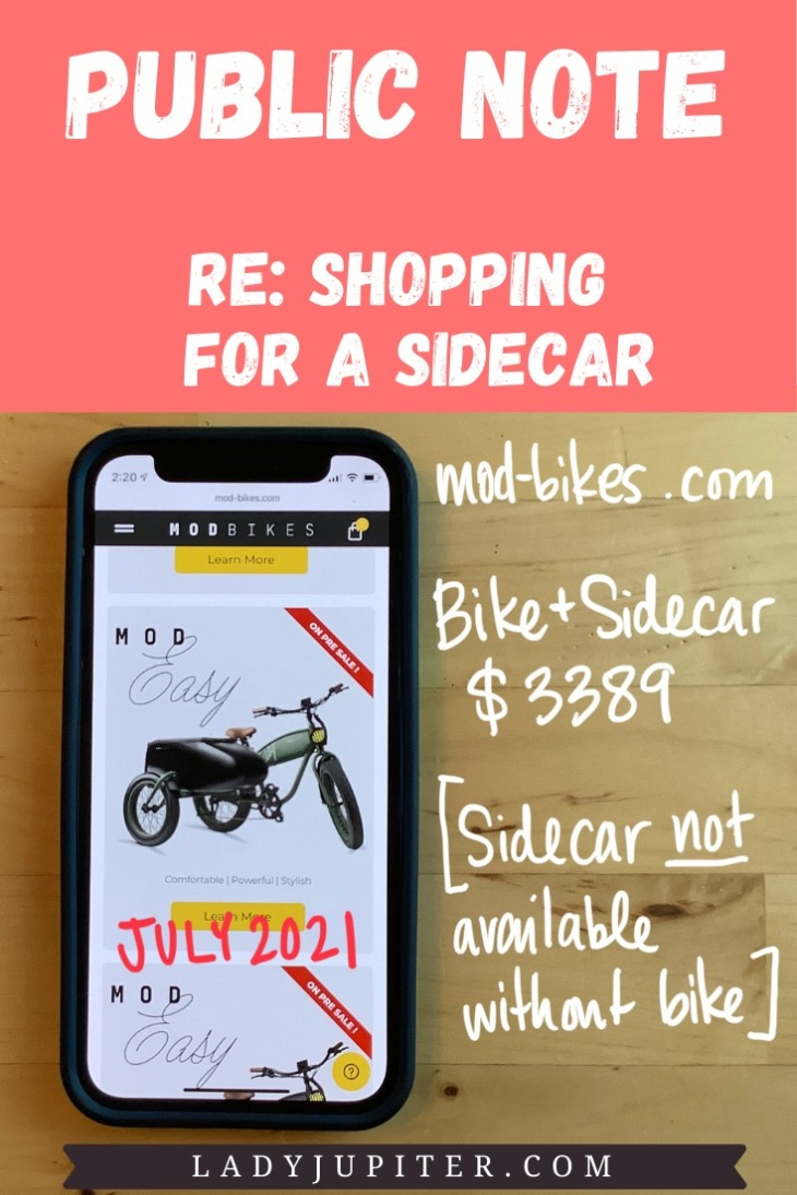Public Note; re: shopping for a sidecar. Mod Bikes (ATX) - pricing in July 2021.
