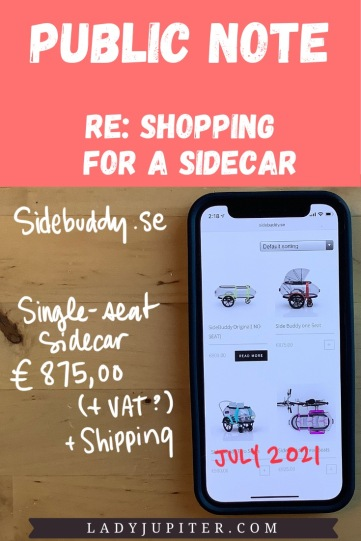Public Note; re: shopping for a sidecar. Side Buddy (Sweden) - pricing in July 2021.