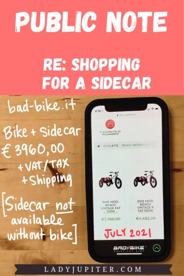 Public Note; re: shopping for a sidecar. Bad Bikes (Italy) - pricing in July 2021.