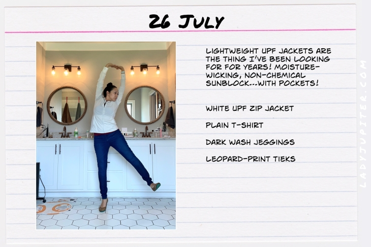Summer Outfits of the Day. #OOTD #July #MomOutfits #LadyJupiter #wearingUPF