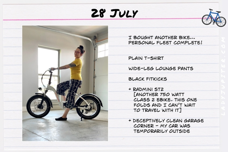 Summer Outfits of the Day. #OOTD #July #MomOutfits #LadyJupiter #RadMini #ebikes