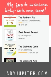 My favorite Audible.com books lately - mostly health and wellness, plus sci-fi. #LadyJupiter