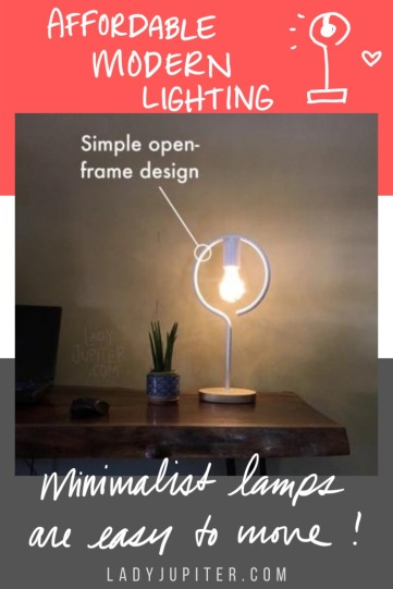 The Jupiter House loves modern home accessories, efficient lighting, and saving money. Here's a quick post about how I combined those things. #LadyJupiter #modernlamps #LEDbulbs #affordable