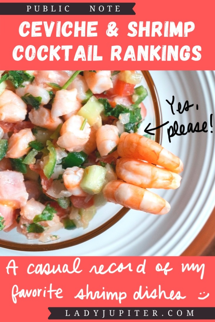 Ceviche & shrimp cocktail rankings! This post is where I share a photo and a quick review just for fun. #LadyJupiter #foodblogging #PublicNote #ceviche #shrimpcocktail