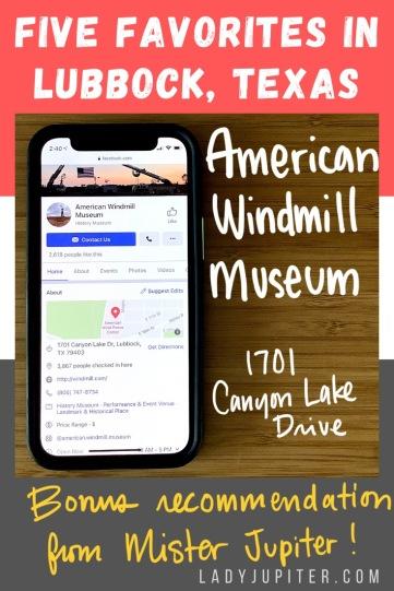 Five favorites in my hometown; Lubbock, Texas. #LadyJupiter #FiveFaves #favorites #5Faves #Lubbock #AmericanWindmillMuseum
