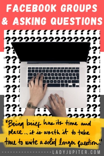 This post is about asking questions online - specifically you military spouses jumping into your new community's FB Group! #LadyJupiter #MilBlogger #MilSO #MilSpouse #AskingQuestions