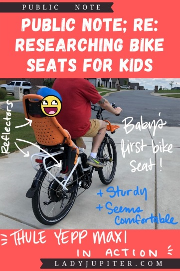 Finding the right bike seat for your kid is tough - and I spent a lot of time finding the right products for us. Here's what I found, and some of what we've used! #LadyJupiter #PublicNote #ResearchNotes #RidingWithKids #KidsOnBikes #Thule