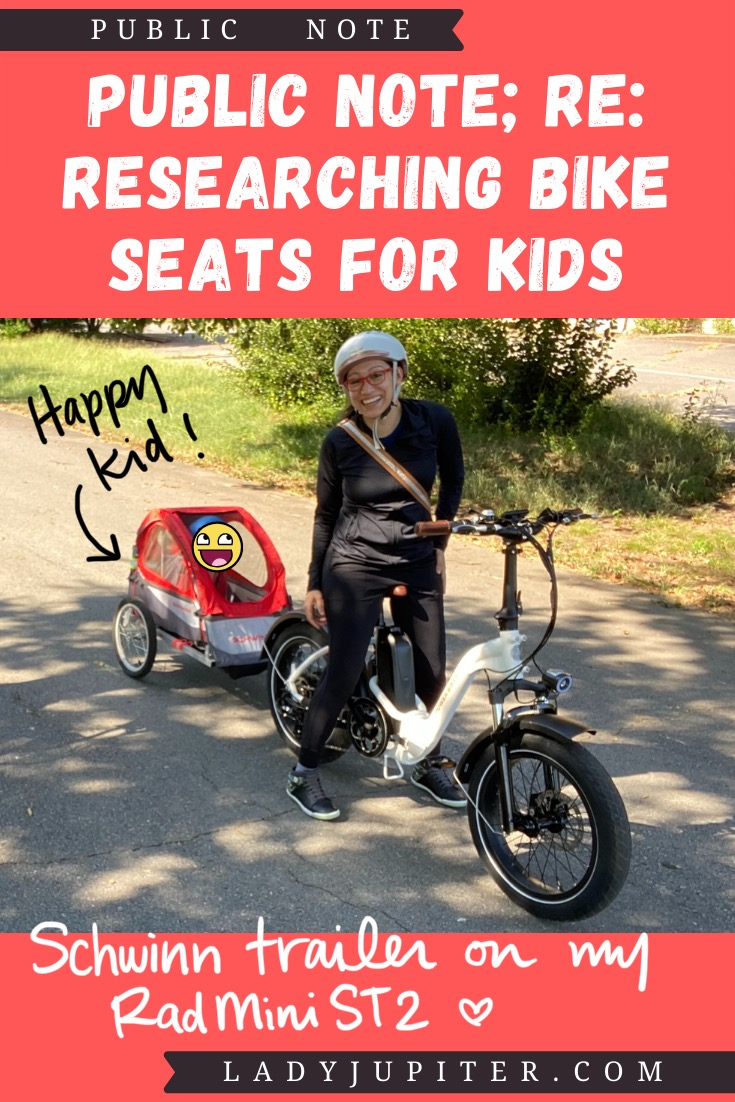 Finding the right bike seat for your kid is tough - and I spent a lot of time finding the right products for us. Here's what I found, and some of what we've used! #LadyJupiter #PublicNote #ResearchNotes #RidingWithKids #KidsOnBikes #Schwinn