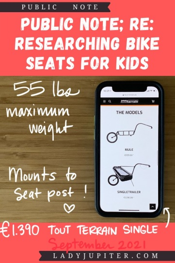 Finding the right bike seat for your kid is tough - and I spent a lot of time finding the right products for us. Here's what I found, and some of what we've used! #LadyJupiter #PublicNote #ResearchNotes #RidingWithKids #KidsOnBikes #ToutTerrain