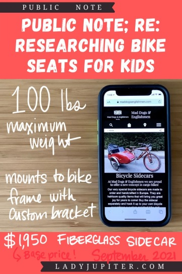 Finding the right bike seat for your kid is tough - and I spent a lot of time finding the right products for us. Here's what I found, and some of what we've used! #LadyJupiter #PublicNote #ResearchNotes #RidingWithKids #KidsOnBikes #Sidecar #SideBike