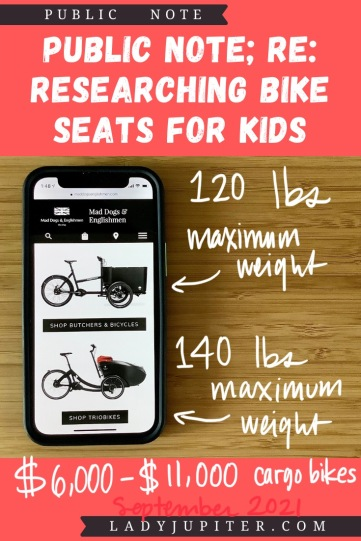 Finding the right bike seat for your kid is tough - and I spent a lot of time finding the right products for us. Here's what I found, and some of what we've used! #LadyJupiter #PublicNote #ResearchNotes #RidingWithKids #KidsOnBikes #CargoBikes