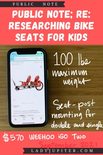 Finding the right bike seat for your kid is tough - and I spent a lot of time finding the right products for us. Here's what I found, and some of what we've used! #LadyJupiter #PublicNote #ResearchNotes #RidingWithKids #KidsOnBikes #WeeHoo