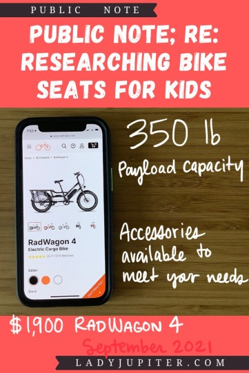 Finding the right bike seat for your kid is tough - and I spent a lot of time finding the right products for us. Here's what I found, and some of what we've used! #LadyJupiter #PublicNote #ResearchNotes #RidingWithKids #KidsOnBikes #CargoBikes #RadPowerBikes