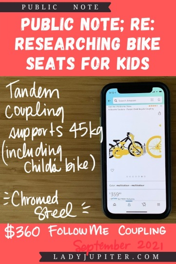 Finding the right bike seat for your kid is tough - and I spent a lot of time finding the right products for us. Here's what I found, and some of what we've used! #LadyJupiter #PublicNote #ResearchNotes #RidingWithKids #KidsOnBikes #TandemBike #FollowMe