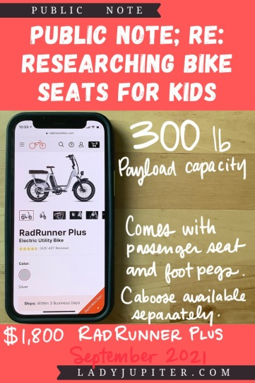 Finding the right bike seat for your kid is tough - and I spent a lot of time finding the right products for us. Here's what I found, and some of what we've used! #LadyJupiter #PublicNote #ResearchNotes #RidingWithKids #KidsOnBikes #RadPowerBikes #RadRunnerPlus