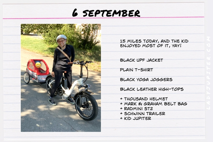 Outfits of the Day, September! #OOTD #September #MomOutfits #LadyJupiter #RadPowerBikes