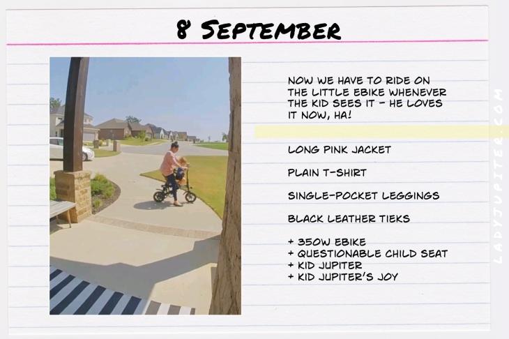 Outfits of the Day, September! #OOTD #September #MomOutfits #LadyJupiter #eBikes