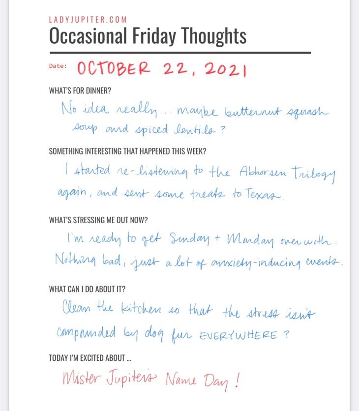 October 22. Just some Friday thoughts. #LadyJupiter #DailyJupiter #diary #Friday